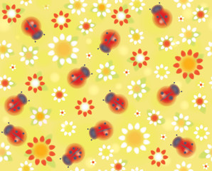 Vector seamless cute pattern ladybugs and flora.