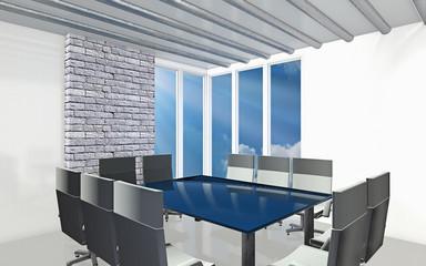3D rendering. Office white room