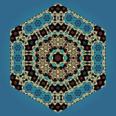 Abstract ornamental shape, vector mandala on blue background.