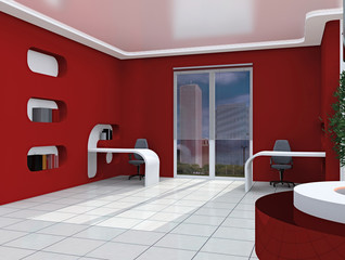 3D rendering. modern office room issued in white-red tones.