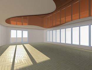 3D rendering. empty room with big windows