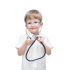 Four-year-old boy with a stethoscope, isolated on the white