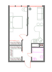 draft plan of the one-room apartment with furniture