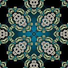 Seamless ornamental kaleidoscopic tile.