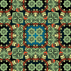 Green carpet asian wallpaper design. Tribal vintage element