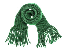 The woolen children's green scarf with a fringe