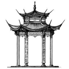 Asia vector logo design template. Temple or architecture icon.