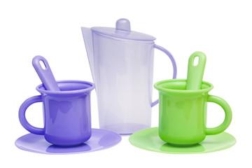 Set of plastic toys for tea, teapot, cups, plates