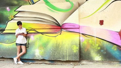 Beautiful girl learning,readin a book,symbol