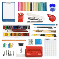The set of stationery, subjects for office and creativity