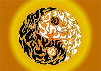 Yin yang, pattern symbol of balance and harmony