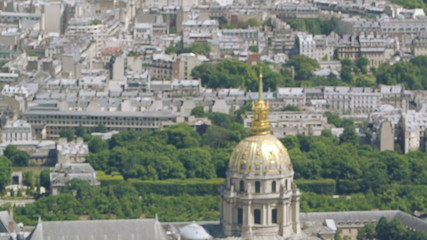 Aerial Paris and golden dome of Les Invalides, France