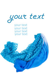 Two blue silk scarf on a white background