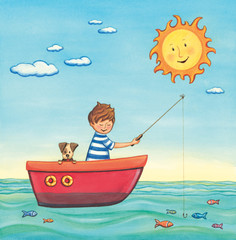 Boy fishing with his dog on a sunny day. Watercolor art..