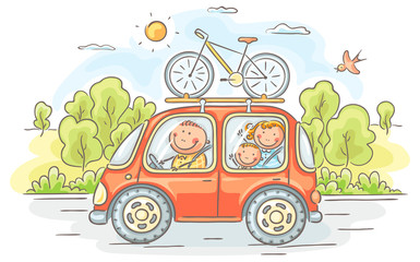 Family travelling by car in the countryside