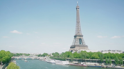 Eiffel Tower, Seine River, streets and homes seen by a drone