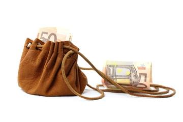 Lederbeutel mit Geldschein