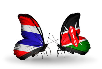 Two butterflies with flags Thailand and Kenya