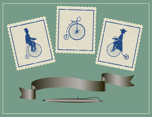 three vintage stamps, pen and ribbon on a green background