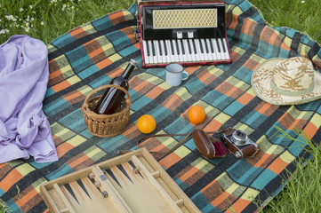 Accessories for picnic on plaid blanket