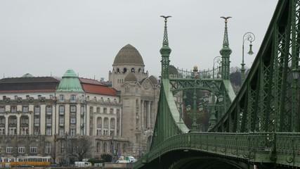 Freedom Bridge in Budapest, closeup in 4K