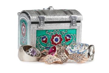 Jewelry in metal box