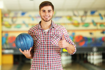 Male with bowling ball in club