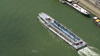 River Seine Cruise boat, Paris, France aerial view