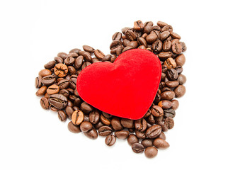 Coffee and velvet heart on white background