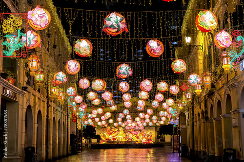 Chinese New year illumination at the Senado Square in Macao - 78391563