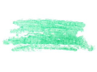 photo grunge green wax pastel crayon spot isolated on white