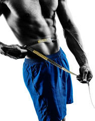 man measuring tape hips fitness exercises silhouette