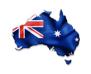 Australia map and flag against white background