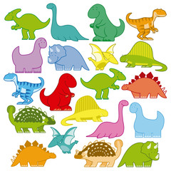 Set Of Different Cute Cartoon Dinosaurs