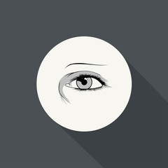 Illustration of eye icon with long shadow