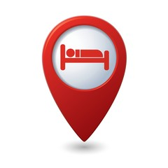 Red map pointer with hotel icon.