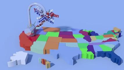"""Mappa USA 3D con rubinetto che eroga la frase """"Yes We Can"""""""