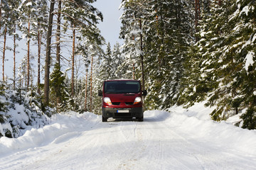 car, suv, driving in rough snowy terrain