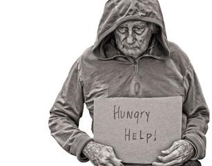 Homeless senior man