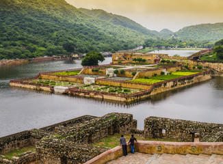 Amber fort gardens on Maota Lake, Jaipur, India