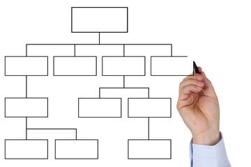 Businessman beim zeichnen von leerem Diagramm Thema Organisation