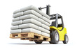 Forklift with white sacks