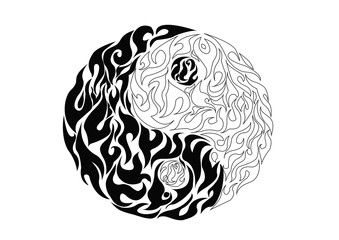 Yin yang, pattern symbol of balance and harmony