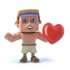 3d Bodybuilder holds a red heart