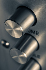 Detail of sound volume controls in vintage style