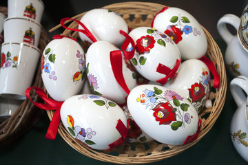 Artistic traditional hungarian handmade porcelain easter eggs in