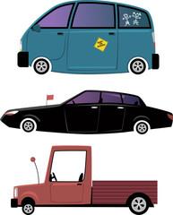 Three cartoon cars