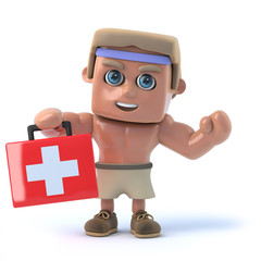3d Bodybuilder offers first aid