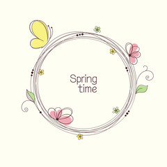 Stylized wreath with flowers and butterfly. Round frame for text
