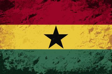Ghanaian flag. Grunge background. Vector illustration
